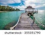 Long Wooden Bridge Pavilion In...