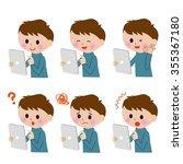 tablet pc boy kids variation   Shutterstock . vector #355367180