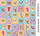 set of funny animals muzzle... | Shutterstock . vector #355392074