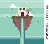 floating island fantasy | Shutterstock .eps vector #355430123