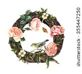 vintage watercolor wreath with... | Shutterstock . vector #355447250