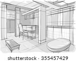 sketch drawing of modern... | Shutterstock .eps vector #355457429