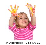 young girl with paint on hands...   Shutterstock . vector #35547322