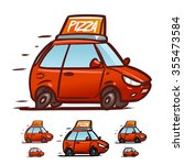 fast pizza delivery car... | Shutterstock .eps vector #355473584