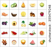 fruits icons set   isolated on... | Shutterstock .eps vector #355479248