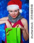 beautiful santa woman on... | Shutterstock . vector #355488548