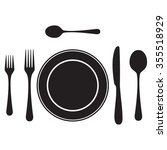 black silhouettes of cutlery ... | Shutterstock .eps vector #355518929