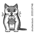 hand drawn head of cat  vector... | Shutterstock .eps vector #355519748