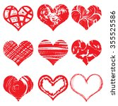 set of hand drawn vector heart. ... | Shutterstock .eps vector #355525586
