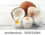 spa coconut products on light... | Shutterstock . vector #355531064