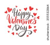 happy valentine's day lettering ... | Shutterstock .eps vector #355532864