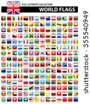 glossy square flags of the... | Shutterstock .eps vector #355540949