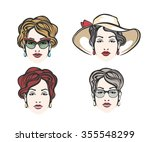 set of four woman heads with a... | Shutterstock .eps vector #355548299