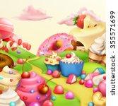 sweet landscape vector... | Shutterstock .eps vector #355571699