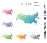 set of vector polygonal russia... | Shutterstock .eps vector #355581794