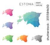 set of vector polygonal estonia ...