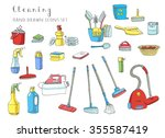 hand drawn vector cleaning... | Shutterstock .eps vector #355587419