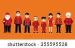 family standing cartoon vector... | Shutterstock .eps vector #355595528