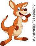 cartoon kangaroo presenting | Shutterstock .eps vector #355600340