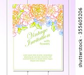 invitation with floral... | Shutterstock .eps vector #355605206