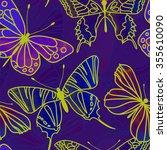 seamless watercolor butterfly... | Shutterstock . vector #355610090