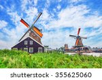 Stock photo unique old authentic real working windmills in the suburbs of amsterdam the netherlands 355625060