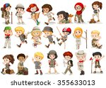 girls and boys in camping... | Shutterstock .eps vector #355633013
