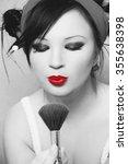 nice make up on beautiful girl | Shutterstock . vector #355638398