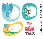 gift tags with funny animals... | Shutterstock .eps vector #355638704