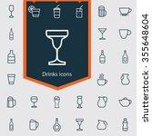 drinks outline  thin  flat ... | Shutterstock . vector #355648604