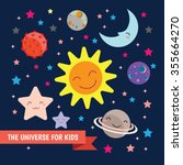 cute kids space vector... | Shutterstock .eps vector #355664270