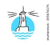 lighthouse logo on white...   Shutterstock . vector #355676174