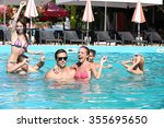 young people having fun in the... | Shutterstock . vector #355695650
