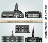 Stock vector harvard university landmarks and monuments isolated on blue background in editable vector file 355696589