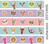 set of funny animals muzzle... | Shutterstock . vector #355719050