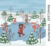 animals enjoying ice skating. | Shutterstock .eps vector #355719446