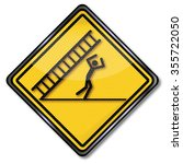 caution falling ladder ... | Shutterstock .eps vector #355722050