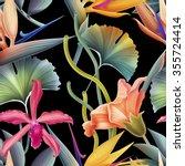 seamless tropical flower  plant ... | Shutterstock . vector #355724414