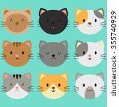 cute smiling kitty face...   Shutterstock .eps vector #355740929