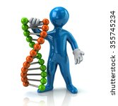 illustration of blue man and dna | Shutterstock . vector #355745234