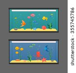 Two Aquariums Set With Swimmin...
