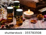 essential oils with herbs in... | Shutterstock . vector #355783508