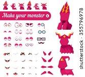 monster creation kit. set for...   Shutterstock .eps vector #355796978