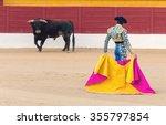 a bullfighter awaiting for the...   Shutterstock . vector #355797854