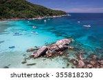 beautiful sea landscape with...   Shutterstock . vector #355818230