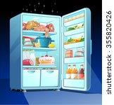 fridge with food | Shutterstock .eps vector #355820426