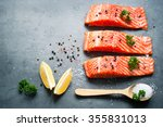 raw fillet of salmon with sea... | Shutterstock . vector #355831013