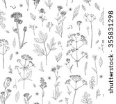 pattern herbs and flowers... | Shutterstock .eps vector #355831298