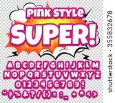 comic alphabet set. pink light... | Shutterstock .eps vector #355832678