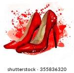 women's shoes watercolor....   Shutterstock . vector #355836320